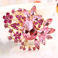 Big Vintage Floral Flower Drop Brooches Pin Pink Rhinestone Crystal Brooch