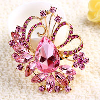 Vintage Large Rhinestone Crystal Floral Flower Drop Pin Brooch Pink