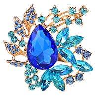 Blue Rhinestone Crystal Gold Floral Flower Brooch Pin Wedding Bridal Brooch