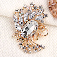 Vintage Clear Rhinestone Crystal Gold Floral Flower Brooch Wedding Bridal