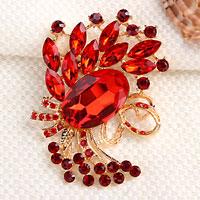 Vintage Red Rhinestone Crystal Gold Floral Flower Brooch Pin Wedding Bridal