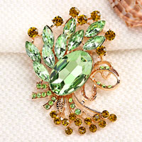 Vintage Green Rhinestone Crystal Gold Floral Flower Brooch Pinwedding Bridal