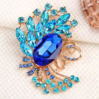 Vintage Blue Rhinestone Crystal Gold Floral Flower Brooch Pin Wedding Bridal