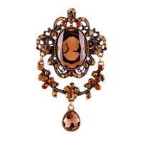 Women Rhinestone Crystal Royal Brown Cameo Brooch Pin Pendant Tear Drop