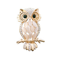 New Vintage Night Gold Owl Bird Brooch Pin Austrian Rhinestone Crystal