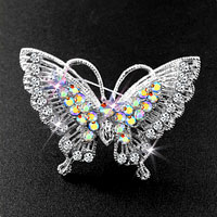 Pretty Vintage Butterfly Brooch Pin Rhinestone Crystal Breastpin Brooches