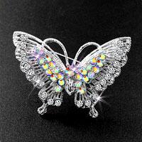 Pretty Vintage Butterfly Brooch Pin Rhinestone Crystal Breastpin Brooches