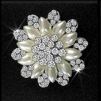 White Rhinestone Crystal Wedding Bridal Bouquet Flower Pearl Brooch Pin