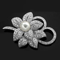 Rhinestone Crystal Wedding Bridal Bouquet Flower Floral Pearl Brooch Pin