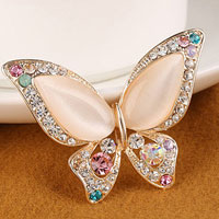 Rhinestone Crystal Bridal Flower Butterfly Breastpin Pin Brooch Bouquet