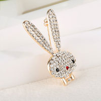 Vintage White Rhinestone Crystal Cute Big Ears Rabbit Animal Brooch Pin Gift