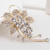 Fashion Jewelry White Rhinestone Crystal Petal Flower Brooch Pin