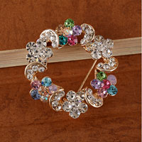 Vintage Colorful Rhinestone Crystal Gold Wreath Flower Brooch Pin
