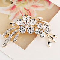 New Clothes Ornament Rhinestone D?? Cor Gold Metal White Flower Brooch Pin