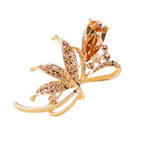Womens Jewelry Rhinestone Crystal Gold Floral Flower Brooch Pin