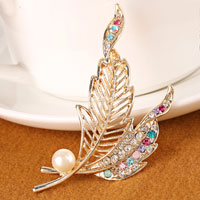 Crystal Rhinestone Decor Gold Tone Colorful Leaf Pearl Brooch Pin