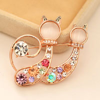 Vintage Cute Twins Cat Animal Crystal Rhinestone Brooch Pin Pendant