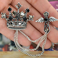 Crystal Rhinestone Winged Cross &  Crown Dangle Chian Link Brooch Pin