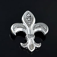 Vintage Silver Tone Skull Fleur De Lis Sign Symbol Fashion Brooch Pin