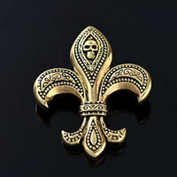 Vintage Gold Tone Skull Fleur De Lis Sign Symbol Fashion Brooch Pin