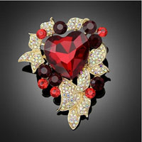 Heart Rhinestone Crystal Flower Wedding Bridal Bouquet Flower Leaf Brooch Pin Red
