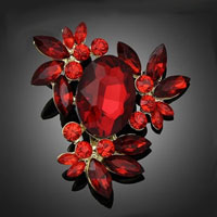 Flower Pendant Brooch Pin Vintage Rhinestone Crystal Wedding Bridal Bouquet Red