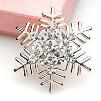 Wedding Bridal Brooch Pin Crystal Rhinestone Large Snowflake Winter Snow Theme