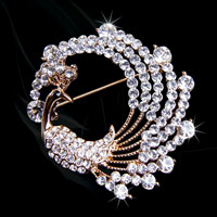 Fashion Gold Tone Peafowl Peacock Pin Brooch White Rhinestone Crystal Women