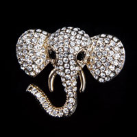 Fashion Gold Tone Elephant Animal Pin Brooch White Rhinestone Crystal Womens