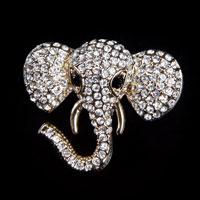 Fashion Gold Tone Elephant Animal Pin Brooch White Rhinestone Crystal Womens