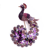Fashion Amethyst Purple Crystal Beads Peafowl Peacock Pin &  Brooches Pendant