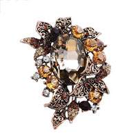 Vintage Fashion Flower Floral Yellow Rounddrop Rhinestone Crystal Brooch Pin