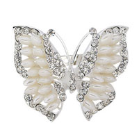 Vintage Silver Tone Butterfly Pin Brooch White Rhinestone Freshwater Pearl