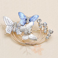 Fashion Skyblue Enamel Butterfly White Rhinetone Crystal Gold Tone Pin Brooch