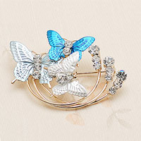 Fashion Blue Enamel Butterfly Clear White Rhinetone Crystal Gold Tone Pin Brooch