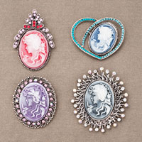 4  Pcs Wholesale Vintage Cameo Lady Portrait Victorian Crystal Brooches Pins Lots