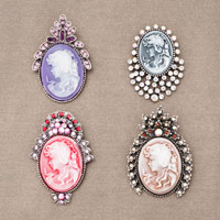 4  Pcs Vintage Cameo Rhinestone Crystal Brooches Pin Hot Red Victorian Lot Of