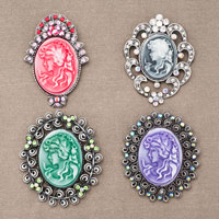 4  Pcs Regal Blue Lady Maiden Cameo Braided Rope Crystal Rhinestone Pin Brooch