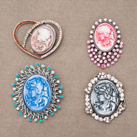 4  Pcs Victorian Cameo Brooch Pin Color Choices Rhinestones Cameo Lot Of