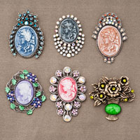 6  Pcs Pink Purple Brown Vintage Enchantress Cameo Pins Brooches Bouquet