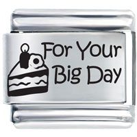 Italian Charms - birthday cake for your big day laser italian charm Image.