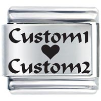 Italian Charms - custom heart love laser italian charm Image.