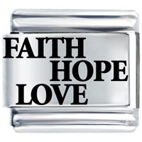Italian Charms - laser faith hope love laser italian charm Image.