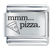 Italian Charms - mmm food pizza laser italian charm Image.