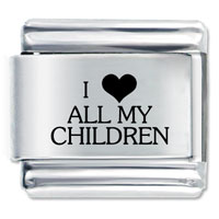 Italian Charms - i heart all my children laser italian charm Image.