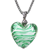 Necklaces - white and green striped heart murano glass summer wedding pendant necklaces Image.