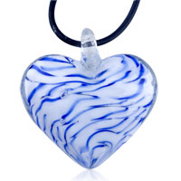 Necklaces - royal blue striped murano glass heart summer pendants necklace Image.