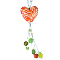 Necklaces - orange tiger stripes heart dangle colorful murano glass beads summer pendants necklace Image.