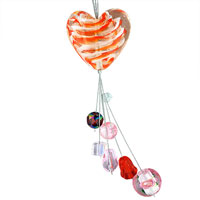 Necklaces - orange and white heart dangle colorful murano glass wedding pendant necklace Image.