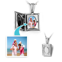 Silver Tone Rectangle Engraved Flower Custom Photo Locket Pendant Necklace 18""